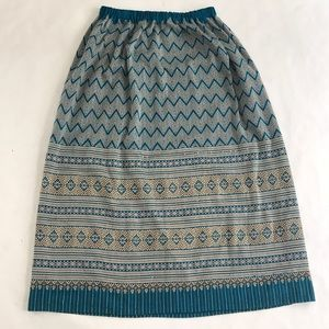 Long Boho Skirt Nice Knit Patterned M L XL Elastic
